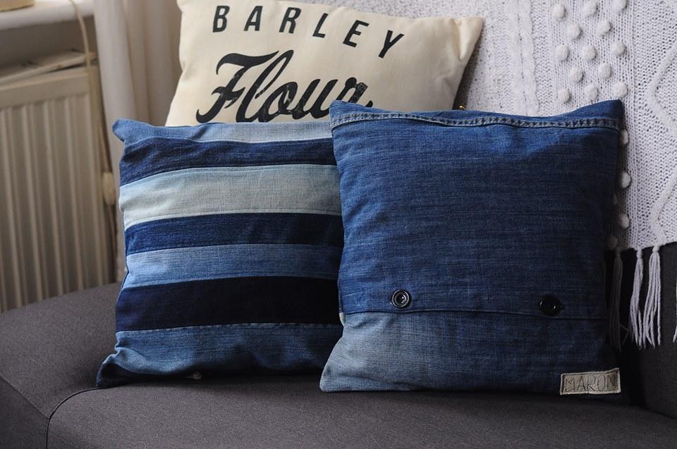 poduszki jeansowe z recyklingu i fullprint